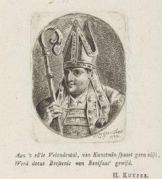 Jacques Kuyper | Portret van de heilige Bonifatius, Jacques Kuyper, H. Kuyper, 1783 | Portretbuste van de heilige Bonifatius in een ovaal naar links. Bonifatius draagt een mijter op het hoofd en heeft in de rechterhand een bisschopsstaf.