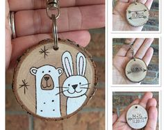 This personalized wooden polar bear key chain features an original wood burning on one side and your name/initial of choice on the other. Swivel connector key chain is nickel plated. Please type the name/initial in the note to seller section during checkout. Thanks!  All of my wood burnings originate from a free hand drawing in pencil. With a wood burner I outlined the drawing and filled it in with acrylic paint, followed by a couple of coats of varnish to protect the piece from wear and…