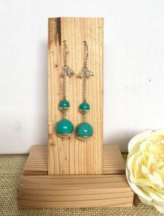 Turquoise earrings  long earrings  silver by GreenGeckoJewellery