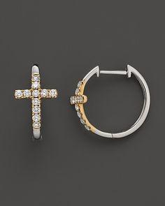 Diamond Cross Hoop Earrings in 14K White and Yellow Gold, .35 ct. t.w. | Bloomingdale's
