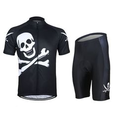 ARSUXEO Men\'s Cycling Jersey Suit Shirt And Shorts Riding Jerseys Bicycle Clothing Skull