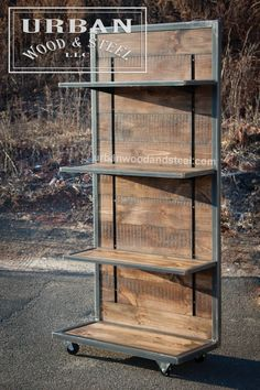 This industrial style shelving unit is the perfect piece to display merchandise, books, or just about anything else. This tough display is made from distressed reclaimed pine, waxed raw steel banding, Metal Furniture, Industrial Furniture, Industrial Style, Diy Furniture, Furniture Plans, Industrial Living, Industrial Farmhouse, Industrial Stairs, Industrial Closet