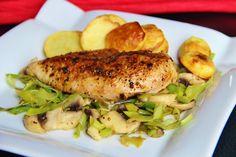 V kuchyni vždy otevřeno ...: Kuřecí prso na másle s restovaným pórkem a žampion...