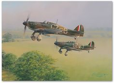 A pair of Mk.I Hurricanes from 32 Squadron lead the scramble away from their forward airfield at the height of the Battle of Britain. Often making four or five such scrambles a day, this time they are racing to intercept Luftwaffe intruders who have been spotted crossing the Kent coast