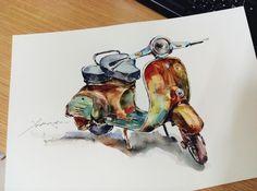 #Xekia #watercolor #Vespa
