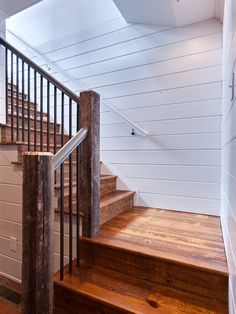 Rustic wooden stairs, shiplap walls for our staircase room. Rustic Stairs, Wooden Stairs, Rustic Entryway, Rustic Wood, Up House, House Stairs, Basement Steps, Basement Bathroom, Basement Staircase