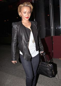 Actress Hayden Panettiere seen leaving the BOA Steakhouse after dinner in West Hollywood, CA. Hayden was sporting a new short hair cut.