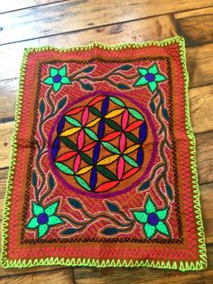 Shipibo Hand-Embroidered Ayahuasca Flower of Life Tapestry from Peruvian Amazon