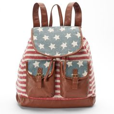 Mudd Mari American Flag Backpack ($30) ❤ liked on Polyvore featuring bags, backpacks, drawstring bag, american flag backpack, shoulder bags, handle bag and knapsack