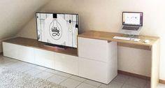 Un meuble TV multi-fonctions – IDDIY – Meuble Besta multi-fonctions sous pente © Claudia Stagnitto