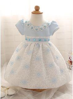 Princesa Coquetel Vestidos de Menina das Flores - Combinação de algodão Manga curta Decote redondo