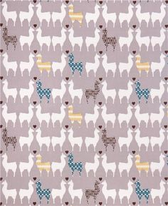grey animal canvas fabric from the collection 'Westwood' with llama couples in love and hearts