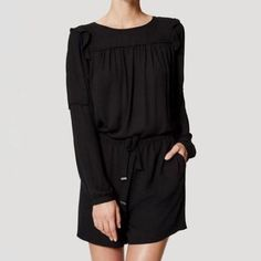 NWT Ann Taylor Loft Long Sleeve Ruffle Shoulder Black Romper Shorts size Large L | Clothing, Shoes & Accessories, Women's Clothing, Jumpsuits & Rompers | eBay!