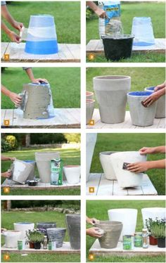 Časopis Rozmarýna : Rozmarýna 4 / 2016 Diy Cement Planters, Cement Flower Pots, Concrete Pots, Concrete Crafts, Concrete Garden, Large Outdoor Planters, Garden Crafts, Garden Projects, Painted Plant Pots