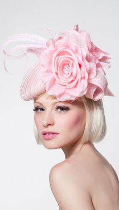 Dillon Wallwork - Pleated rose pink sinamay beret trimmed with silk roses and clipped ostrich feathers.