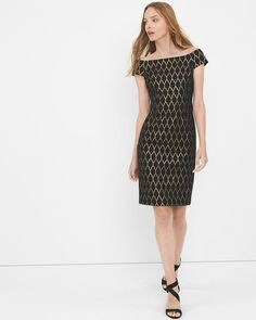 "The classic LBD is a wardrobe staple, but even classics need to be updated. Bare shoulders refresh this shift dress, done in a black and gold mixed jacquard stretch for a figure-flattering fit. Just add strappy heels.  Off-the-shoulder jacquard shift dress in black with gold  Back zip with hook-and-eye closure Lined Regular: Approx. 38"" from shoulder; 1"" above knee Petite: Approx. 36 5/8"" Cotton/polyester/metallic/nylon/spandex. Machine wash cold. Imported"