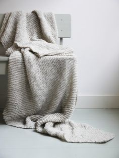 Winter grey knitted blanket