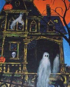 A Vintage Halloween Vintage Halloween Cards, Whimsical Halloween, Halloween Artwork, Halloween Ii, Retro Halloween, Halloween Pictures, Halloween Ghosts, Holidays Halloween, Halloween Themes