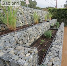 Unique Gabion Wall Garden design - Decorate Your Home Terraced Landscaping, Landscaping Retaining Walls, Backyard Landscaping, Landscaping Ideas, Steep Hillside Landscaping, Patio Ideas, House Landscape, Landscape Design, Contemporary Landscape