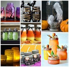 Halloween Crafts in Mason Jars - Round up of adorable, kid-friendly mason jar craft ideas pulled together by Country Living magazine