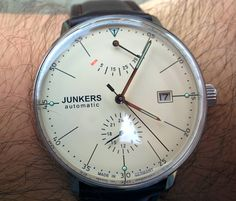 Junkers Bauhaus Automatic Watch with Power Reserve and 24hr Subdial 6060-5