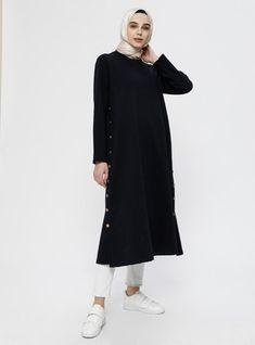 Yanları Düğme Detaylı Tunik - Derin Mavi Mavis, Normcore, High Neck Dress, Dresses, Style, Fashion, Turtleneck Dress, Vestidos, Swag