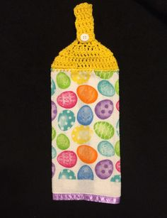 Crocheted Top Dish Towel -Easter Eggs by HandMadeInMadison on Etsy
