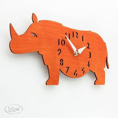 The Rotund Rhino in Orange designer wall mounted clock by LeLuni Rustic Toys, Cute Clock, The Giant Peach, African Theme, Kids Room Wall Art, Safari Nursery, Wooden Clock, Etsy Business, Rhinoceros