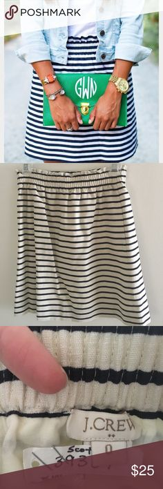 J Crew Navy and Taupe cotton skirt J Crew factory cottons striped skirt. 100% cotton worn only once and dry cleaned promptly after. Perfect for spring and summer. Can be worn both low and high waisted depending on the look you'd like to achieve. J. Crew Skirts