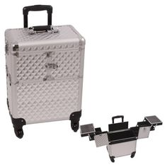 Sunrise Silver Interchangeable 3-Tiers Accordion Trays Diamond Pattern Professional Rolling Aluminum Cosmetic Makeup Case - E6304