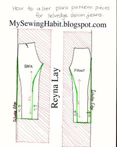 How to Alter Pattern for Selvedge Jeans #selvedgejeans #selvedge #patternmaking