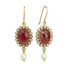 Garnet and Pearl Drop Earrings