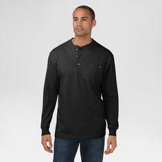 Dickies Cotton Heavyweight Long Sleeve Pocket Henley Shirt, Size: Xxl, Black
