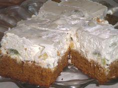 Aceasta prajitura are gustul delicios al unui diplomat clasic. Ingrediente: o cana (200 ml) de apa, 1/2 cana de ulei, 2 cani de faina, 1/2 cana de zahar, 6 linguri pline de miere, o lingurita de cacao pentru culoare, un pliculet mic de praf de copt. Topping: 0.5 l frisca batuta si bucatele de kiwi,Read More