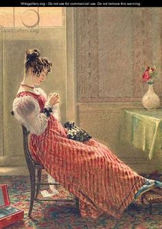 """Lady Sewing"" by William Henry Hunt. William Henry Hunt (March 1790 - February was a brilliant English watercolour painter. Illustrations, Illustration Art, Art Du Fil, Images Vintage, Little Stitch, Sewing Art, Textile Art, Vintage Sewing, Female Art"