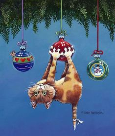 58 Super Ideas For Funny Christmas Ornaments Pictures Cat Christmas Cards, Funny Christmas Ornaments, Christmas Animals, Christmas Humor, Vintage Christmas, Holiday Themes, Christmas Themes, Christmas Holidays, Christmas Decorations