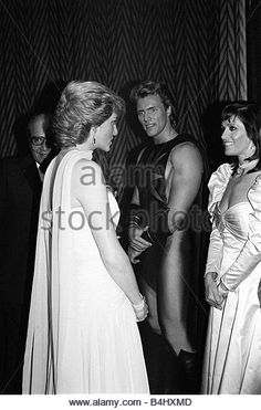 Princess Diana meets actress Margo Kidder Jul 1987 and the other stars of the film Superman at the Film Premiere - Stock Image