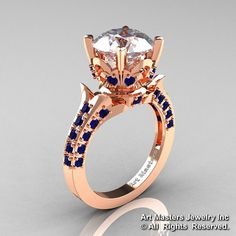 Exclusive 14K Rose Gold 3.0 Carat White and Blue by DesignMasters, $1149.00