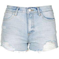 TopShop Petite Rosa Pocket Bag Short (46 AUD) ❤ liked on Polyvore featuring shorts, pants, petite shorts, torn shorts, short shorts, bleached shorts and ripped shorts