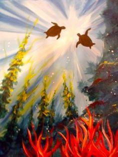 SEA OF LOVE, Sea turtles underwater vies. .