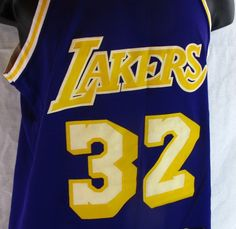 Magic Johnson #32 Los Angeles Lakers Jersey True Vintage Size M NBA Sand-Knit