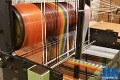 Making rainbow laces today! Check out all of that yarn! #manufacturingintheUSA #braid