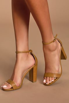 No one does it quite like the Lulus Taylor Camel Ankle Strap Heels! Whether you choose to dress them up or down, these vegan leather, single sole heels will stun with their slender toe strap, and adjustable ankle strap (with gold buckle). Tie Up Heels, Strappy High Heels, Tan Heels, Pointed Toe Heels, Silver Heels, Dress And Heels, Ankle Strap Heels, Ankle Straps, Suede Heels