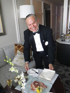 A butler for the penthouse suite of the Crystal Serenity cruise ship