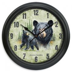"11.5"" Black Bear Wall Clock - American Expedition"