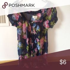 Sheer A&F Top Classic sheer Floral top from A&F with ruffles down the middle and stretchy band towards the bottom Abercrombie & Fitch Tops Blouses