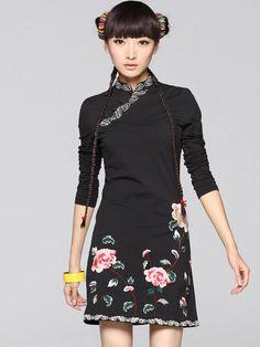Cotton Long Sleeve Qipao / Cheongsam / Chinese Dress