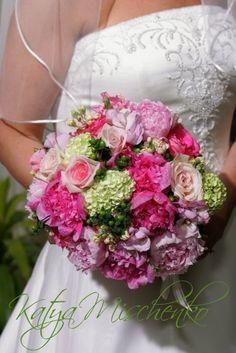 Bridal bouquet of peonies, roses, stock, viburnum and green hypericum berries.  Peony, Viburnum, Rose, Stock spring bouquet Katya Mischenko Custom Florals on Facebook
