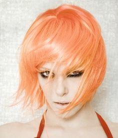 Short Bob Hairstyles: The 2012 Hairdo Trend Punk Hair Color, Bold Hair Color, Hot Hair Colors, Bright Hair Colors, Pastel Orange Hair, Peach Hair, Apricot Hair, Pale Orange, Light Orange