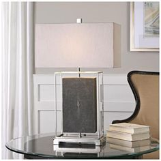Uttermost Sakana Rubbed Gray Floating Rectangle Table Lamp